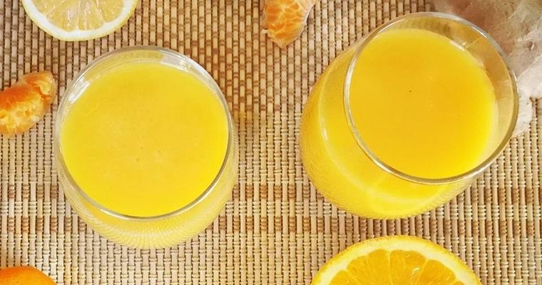 Портокалов коктейл с лимон, куркума и джинджифил