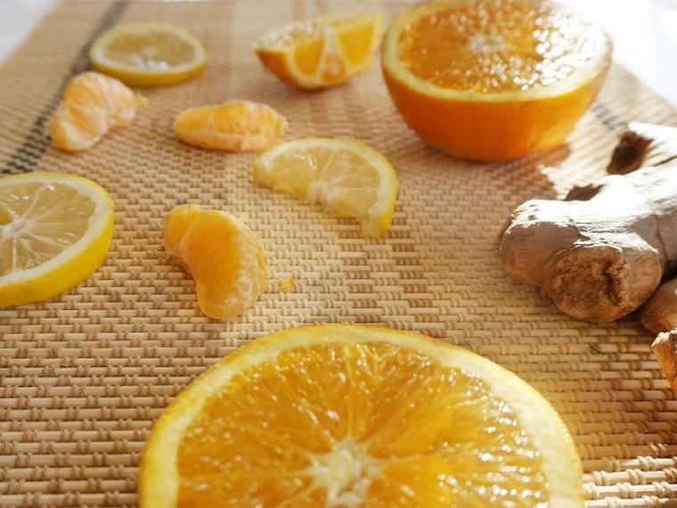 Съставки за Портокалов коктейл с лимон, куркума и джинджифил