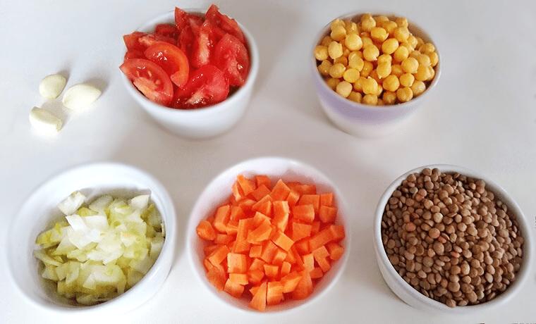 Съставки за рецептата Леща с нахут и зеленчуци