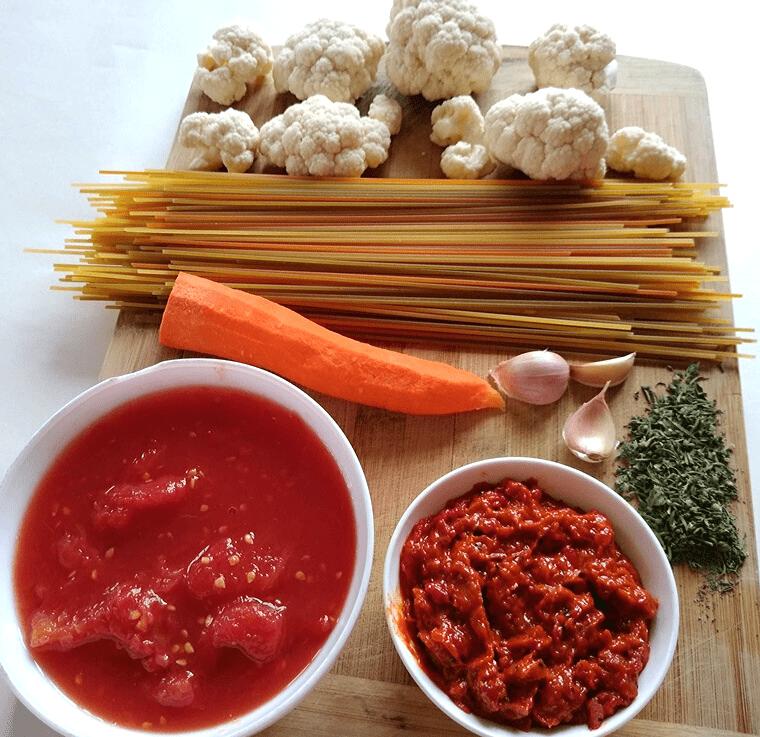 3-цветни спагети с хрупкав карфиол - продукти