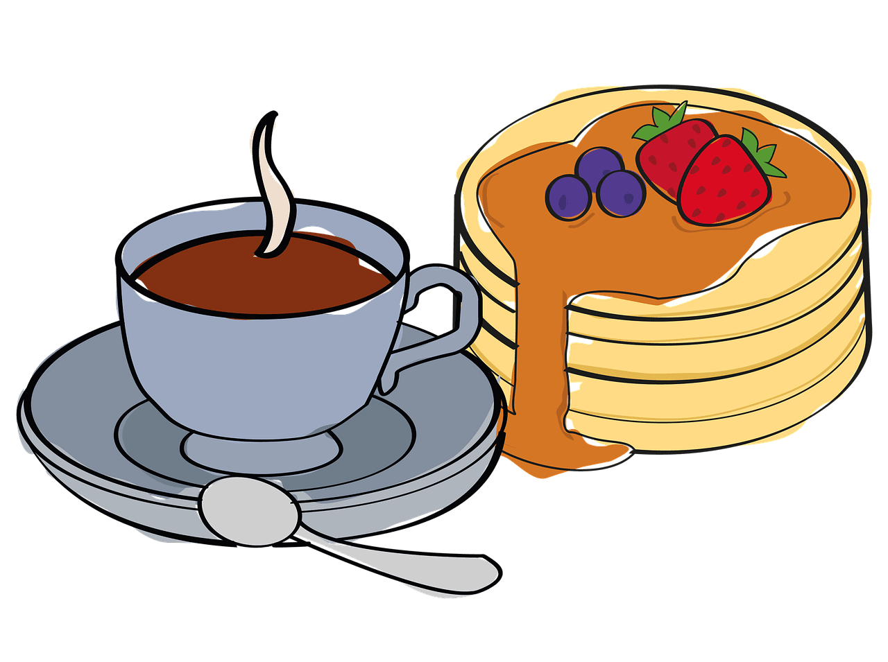 Чаша кафе и чиния с ароматни палачинки