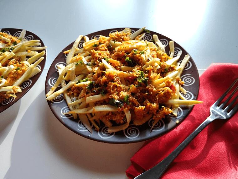 Спагети от тиквички - сервирани