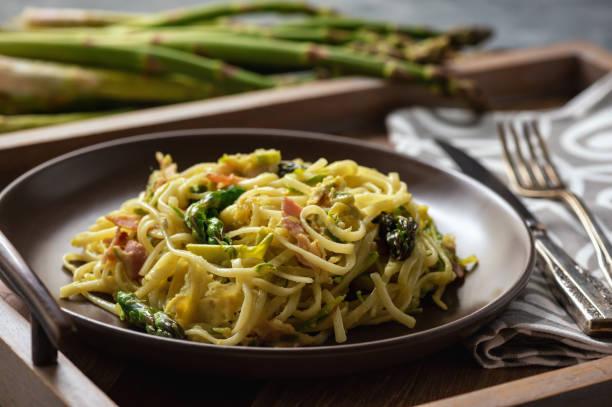 спагети с босилек и италиански сос с аспержи - поглед отгоре