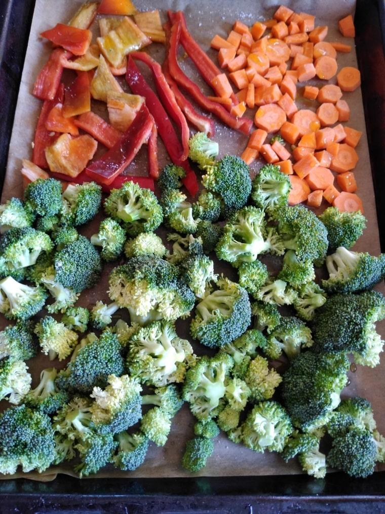 зеленчуците в тава - подготовка за печене